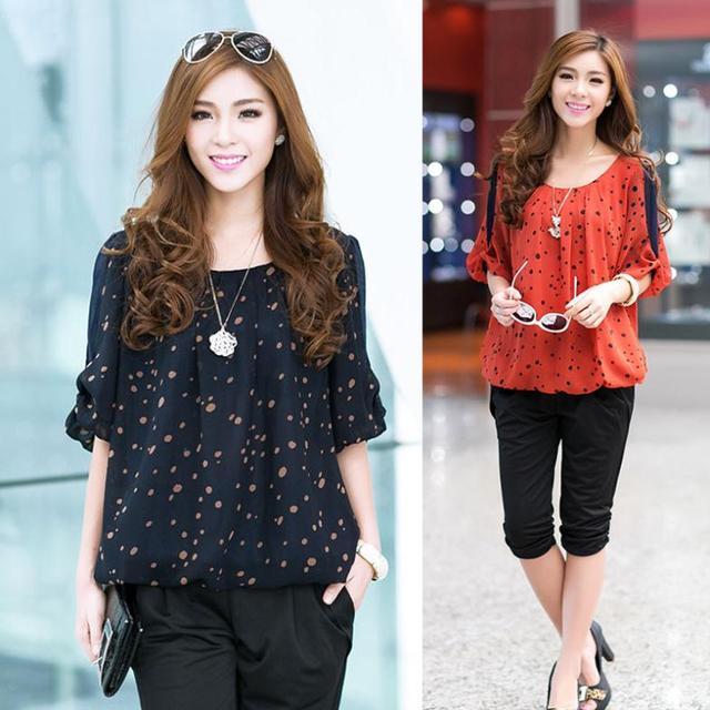 c14151886d7 Korean Stylish Loose Half Sleeve O-Neck Summer Tops Female Polka Dot Print Chiffon  Blouse
