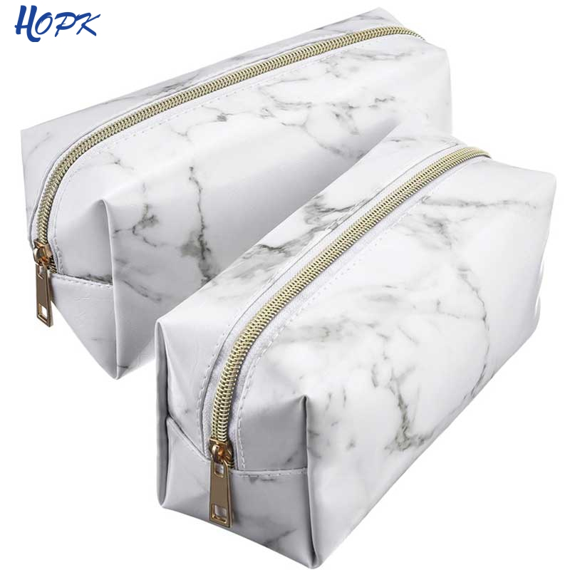 Large Marble Pencil Case Leather Pen Box Big Makeup Bag For Girls Gift PU etui Office School Travel Supplies chancery penalty bangle