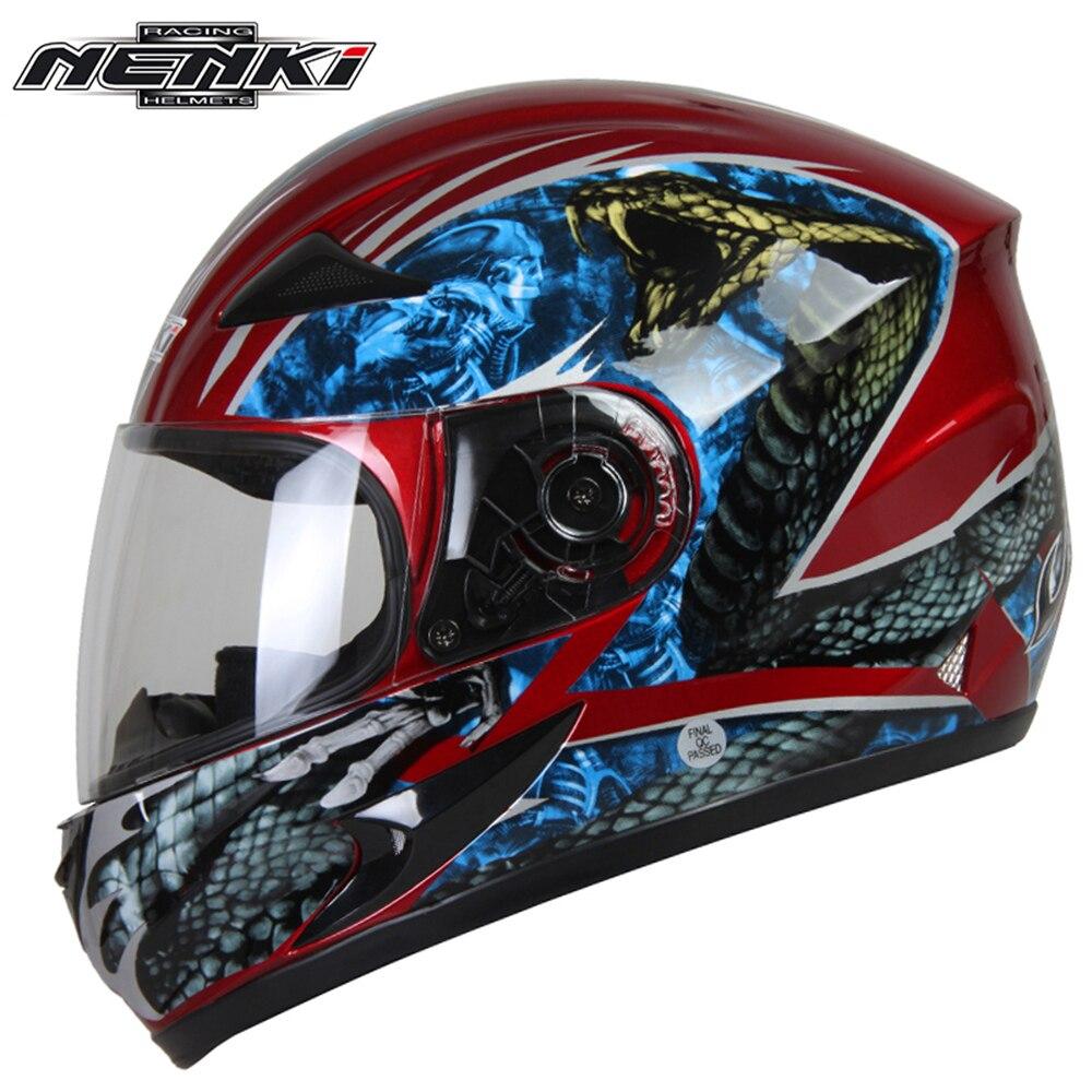 NENKI Motorcycle Helmet Motorcycle Cool Blue Full Face ...