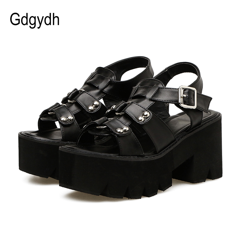 Gdgydh Chunky Heel Sandals Woman Platform Punk Shoes 2019 New Summer Open Toe Shoes Female Block Heel Fashion Rivet Discount