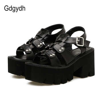 Gdgydh Chunky Heel Sandals Woman Platform Punk Shoes 2019 New Summer Open Toe Shoes Female Block Heel Fashion Rivet Discount - DISCOUNT ITEM  51% OFF All Category