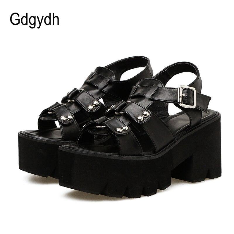 Gdgydh Chunky Heel Sandals Woman Platform Punk Shoes 2020 New Summer Open Toe Shoes Female Block Heel Fashion Rivet Discount