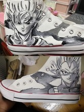 Dragon Ball Hand Painted Canvas Shoes Cool Saiyan Son Goku Graffiti Cos Boots for Halloween Party Student Vulcanize Shoes A51410