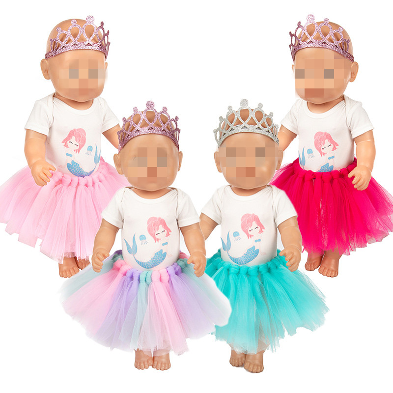 Baby New Born Doll Clothes Fit 18 inch 40 43cm Doll Mermaid Crown Skirt Birthday Crown Skirt Accessories For Baby Birthday Gift in Dolls Accessories from Toys Hobbies