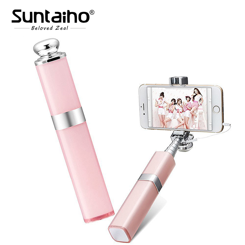 Mini Monopod Wireless handheld Selfie stick Remote Shutter Lipstick Design Phone selfie tripod for iPhone Android