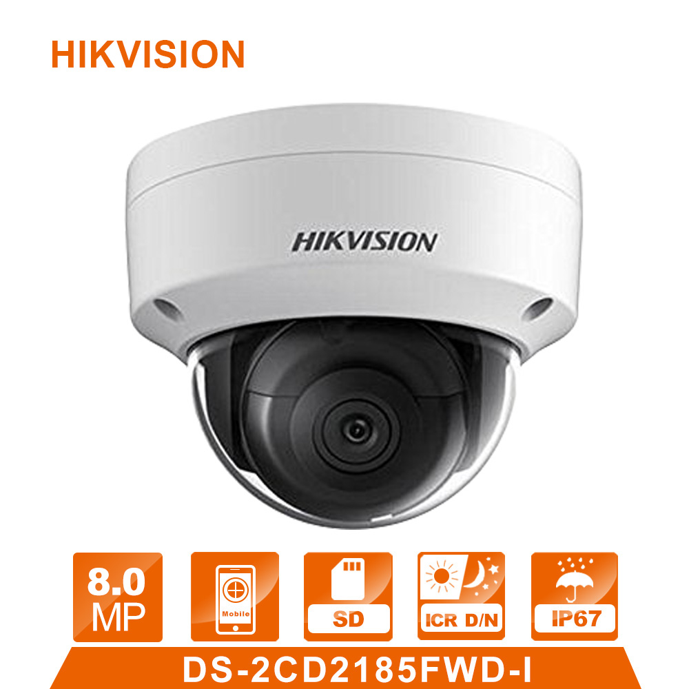 Original Hik English Version DS-2CD2185FWD-I 8MP Network Dome IP Camera POE H.265 IR IP67 cctv camera SD Card Slot original english ds 2cd2432f iw hik 3mp ir cube ip network microphone wireless camera poe wi fi pir detection