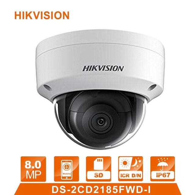 Original Hik English Version DS-2CD2185FWD-I 8MP Network Dome IP Camera POE H.265 IR IP67 cctv camera SD Card Slot