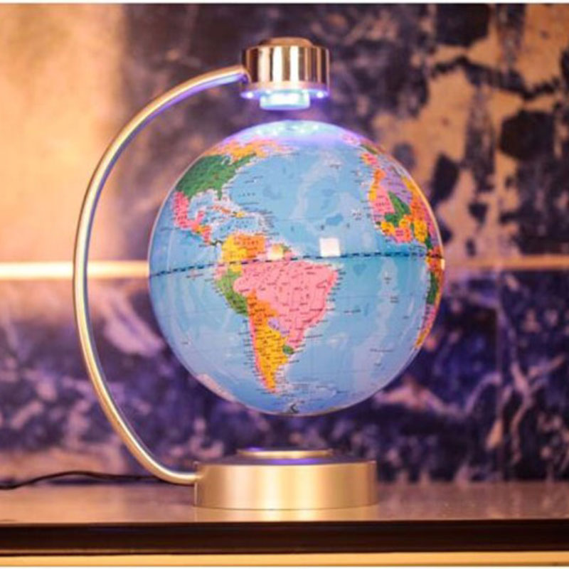 8 inch Electronic Magnetic Levitation Floating Globe World Map English Earth Globe with LED Light Plug