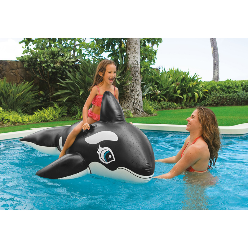 pvc toy 193cm*119cm inflatable black big whale beach swimming pool water rider baby animal rider air mat mattress lounge B40008
