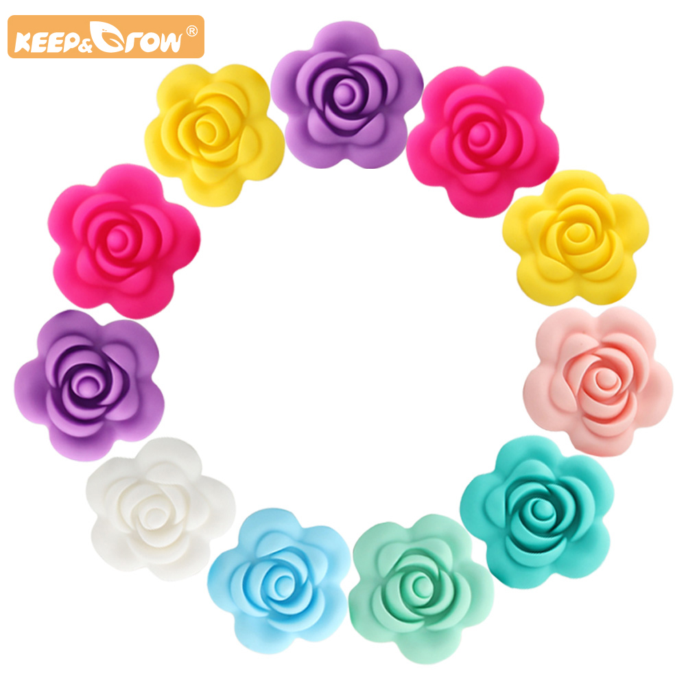 Keep&Grow 40mm 5pcs Rose Silicone Beads Baby Teethers BPA Free Rose Baby Teething Toys Accessories For Pacifier Chain