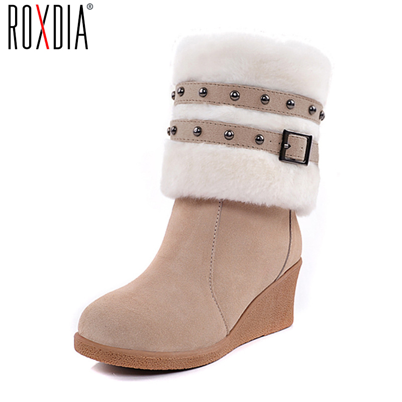 ROXDIA New Fashion Wedges Flock Buckle Women Boots Mid-Calf Boot For Snow Winter Woman Shoes Plus Size 36-43 RXw020 double buckle cross straps mid calf boots