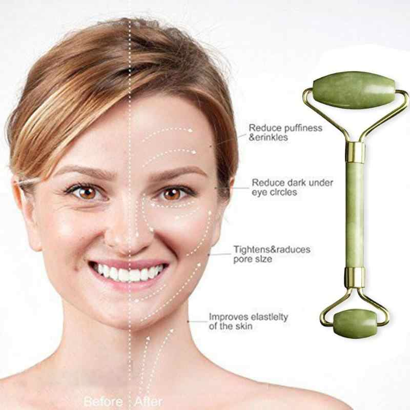 1Pcs/2Pcs Natuurlijke Jade Gezichtsmassage Roller Guasha Boord Afslanken Gezicht Massager Lifting Tool Skin Massage Schoonheid care Set