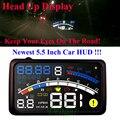 5.5 Pulgadas Proyector Car Styling Car HUD Head Up Display Exceso de Velocidad Sistema de alerta 12 V OBD II OBD2 Interfaz Hud Coche de Combustible