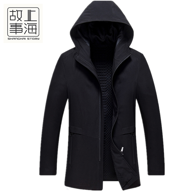 Shanghai Story Spring New Men's cotton warm windbreaker Korean version youth hooded trench coat men's clothing