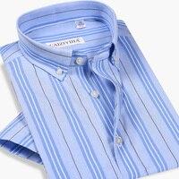GREVOL Men Striped Shirts Casual Short Sleeved Cotton Men's Business Male Smart Casual Shirt Social Dress Shirts Outwear
