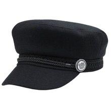 Классический Стиль модная черная Зимняя кепка шерстяная шапка Для женщин Накладка для кнопки Повседневная Уличная одежда веревку плоские Кепки элегантные однотонные осенние