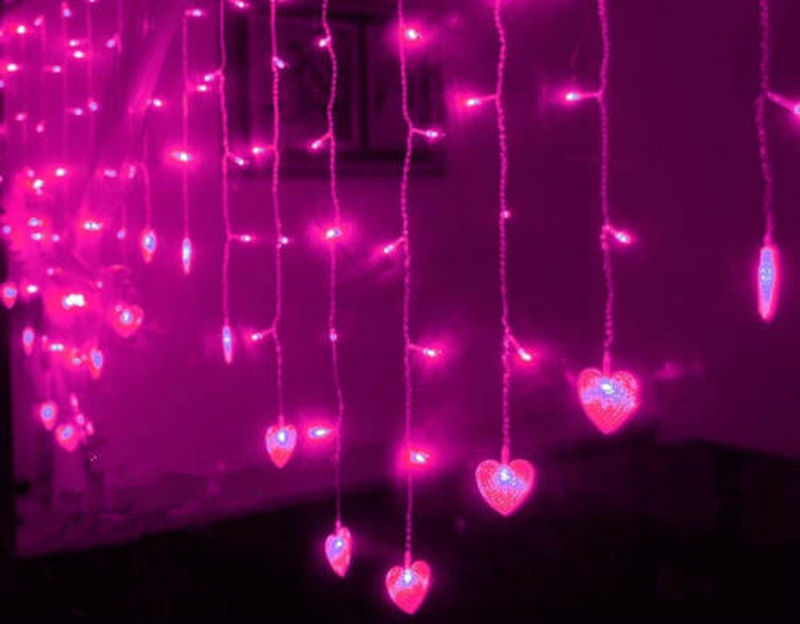 2m15m 124led heart shaped led fairy string icicle curtain light 16 drops valentine xmas christmas wedding party garland decor in party backdrops from home - Valentine String Lights