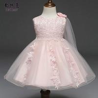 Baby Girl Dresses 3 6 9 12 18 24 Months White Lace Wedding Dress Flower Princess First Birthday Newborn Girl Party Dress 2C22A