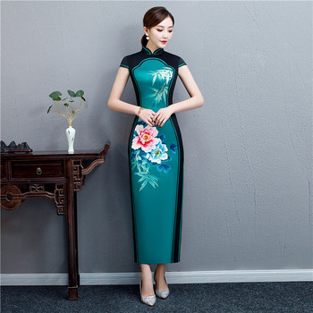 Plus Size 4XL New Red Female Satin Traditional Chinese Dress Embroidery Short Sleeve Elegant Qipao Vintage Oriental Cheongsam navy blue traditional chinese women dress satin short qipao vintage button dragon cheongsam plus size 3xl 4xl 5xl 6xl