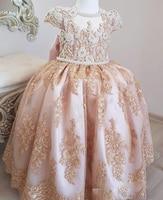 2019 Vestidos Primera Comunion 2 предмета бальное платье с цветочным узором для девочек кружево Малый блеск нарядные платья красивые дети выпускн