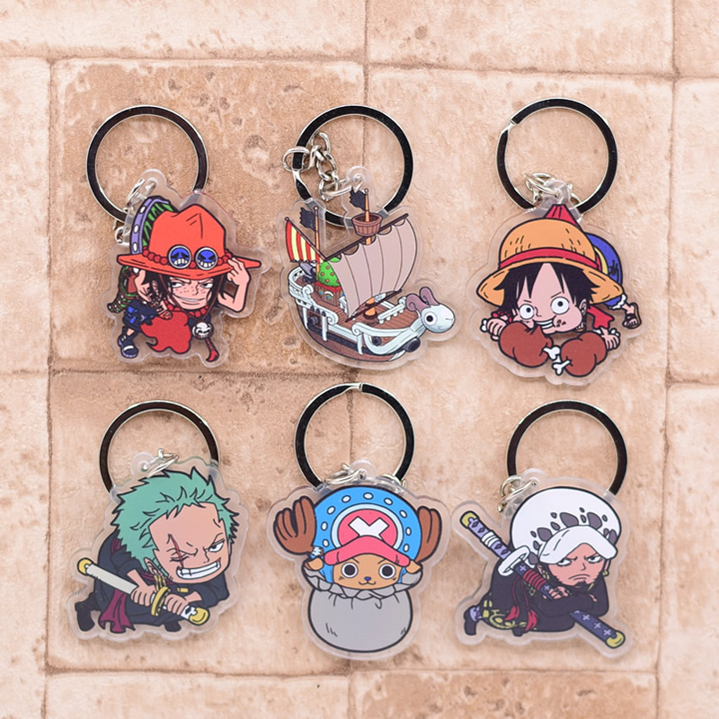 2019 One Piece Keychain Double Sided Key Chain Acrylic Pendant Anime Accessories Cartoon Key Ring