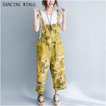 cfc2edd95f9 Personalized Printed Denim Jumpsuit Bib Pants Yellow Sleeveless Wide Leg  Pants Summer Overalls Women(China