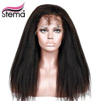 Stema Lace Front Wig Kinky Straight Lace Frontal Human Wigs With Baby Hair Pre Plucked Natural Hair Line Remy Hair Free Shipping