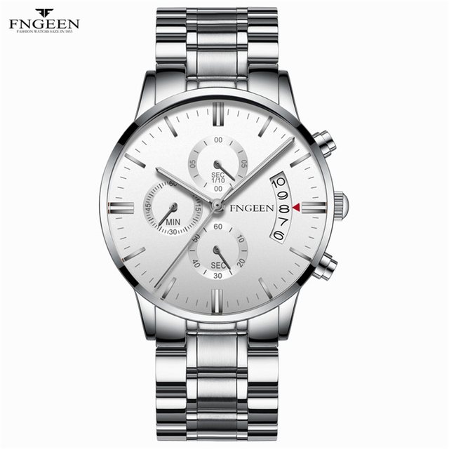 2018 Business Men Sports Watches Stainless Steel 30m Waterproof Quartz-Watch Automatic Date Black Male Clock Relogio Masculino