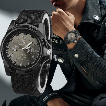 Gemius-reloj militar de nailon Para Hombre, pulsera de cuarzo, deportivo, Masculino