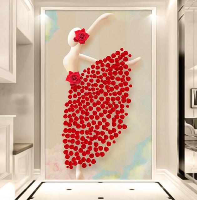 Modern 3D Foto Papel De Parede Murais Vermelho Feito Sob Encomenda Rosa Da  Dança Do Bailado ...