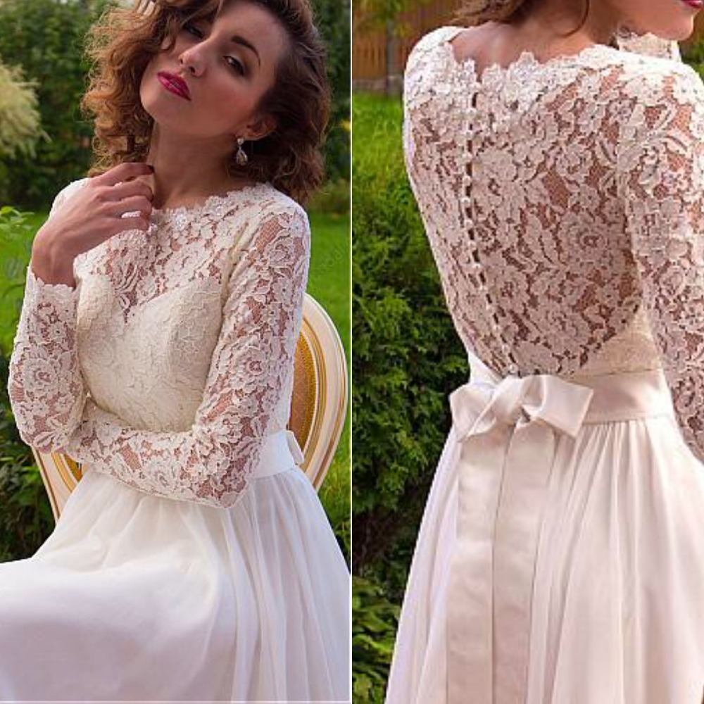 Beautiful O-Neck Long Sleeve Lace Wedding Dresses Chiffon A-Line Illusion Back Floor Length Long Vestidos De Noiva Bridal Gowns