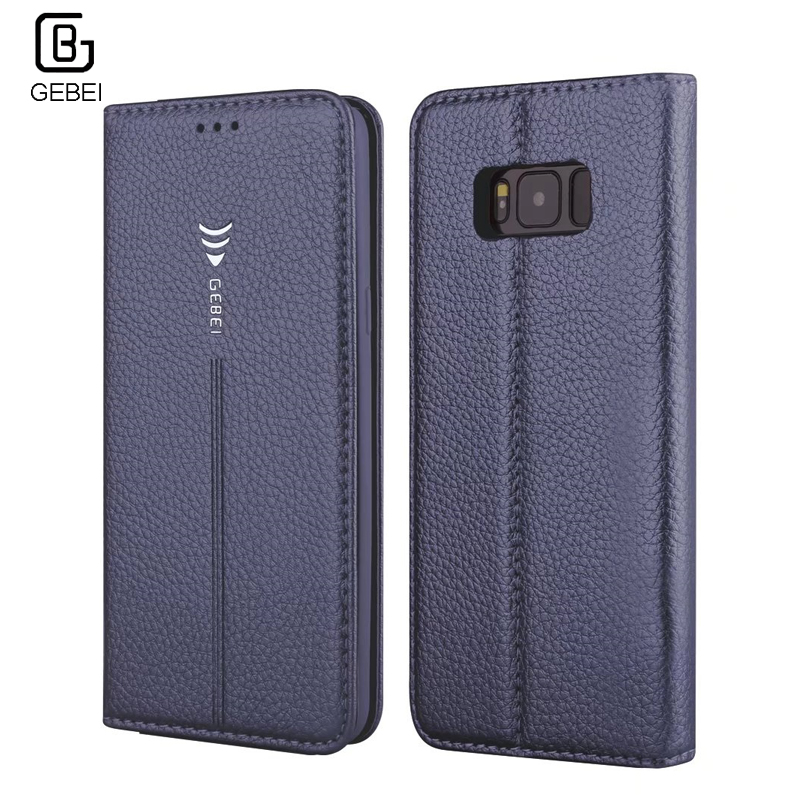 S8 font b Case b font Original GEBEI Flip Leather Wallet Card Slot Magnet Stand Cover