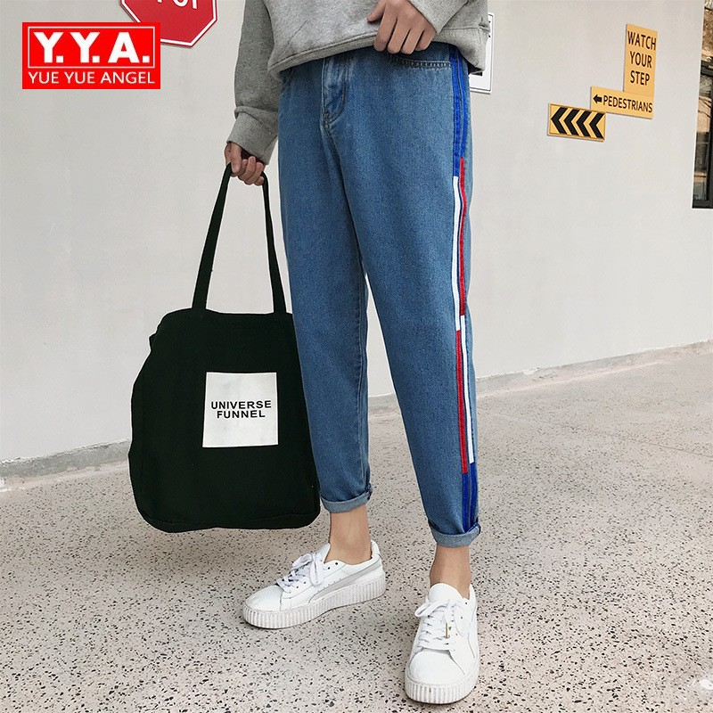 2018 Spring New Slim Fit Jeans Mens Striped Boot Cut Pants Casual Korean Style Young Mens Jeans Plus Size 5XL Male Streetwear ...