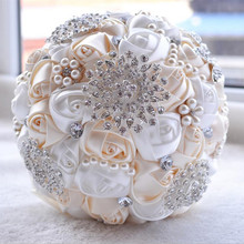 1pc/lotArtificial Wedding Bouquets Hand made Flower Rhinestone Bridesmaid Crystal Bridal Wedding Bouquet de mariage