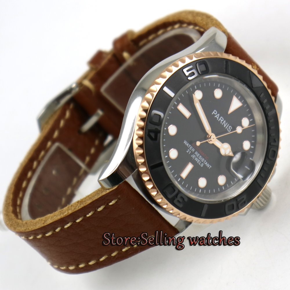 41mm Parnis black dial Sapphire glass Ceramic bezel miyota automatic mens watch цена 2017
