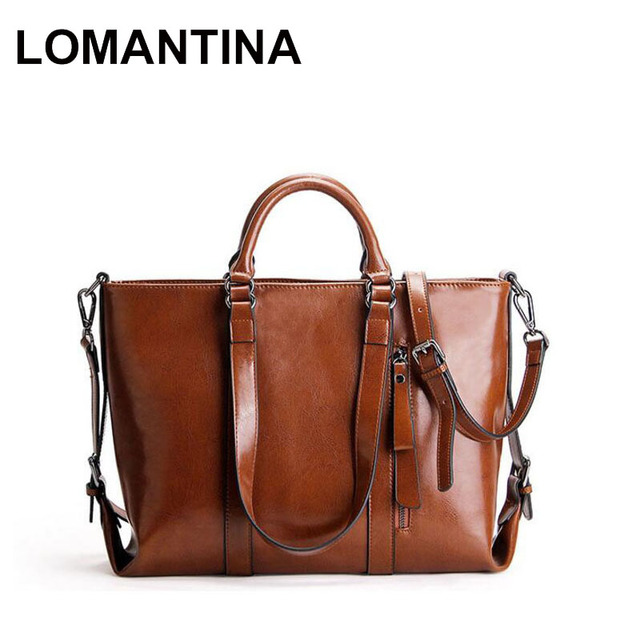 87d71f052 LOMANTINA Ladies Office Business Bag Winter Autumn Fashion Women's Handbag  Oil Wax Leather Bags Female Large