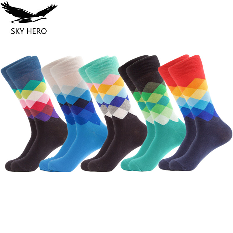 5Pairs/lot Cotton Happy Socks Men's Art Sock Long Colorful Funny Men Calcetines Hombre Divertidos Summer Man Combed Fashions
