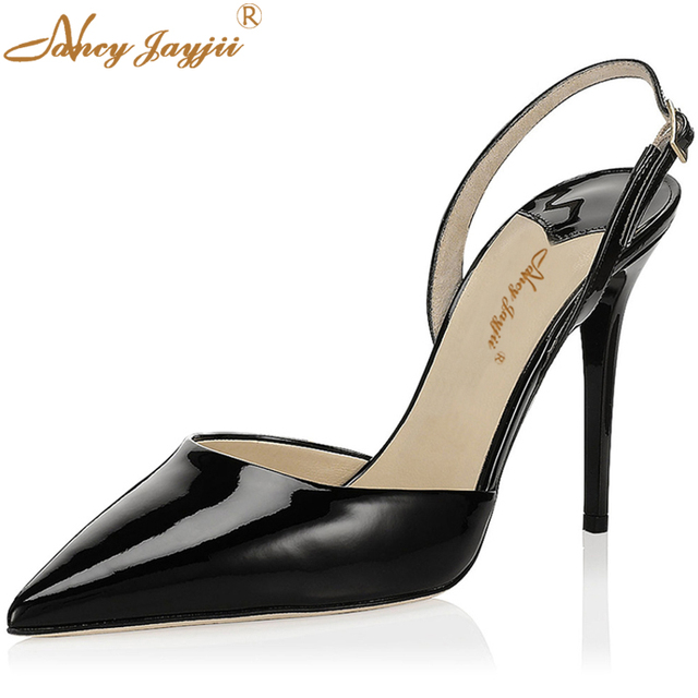 008b448d33e3 Women Summer Gold Silver Sandals Mules Leather Pointed Toe High Heels 80MM  Casual Pumps Slingbacks Shoes Woman 43 Nancyjayjii