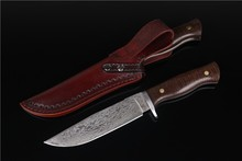 small Boyd python Damascus steel straight knife pure manual carve patterns or designs on woodwork leather sheath For survival
