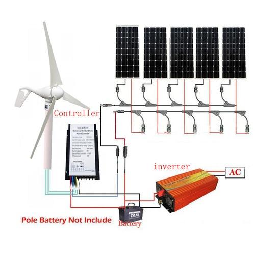 ECOworthy 900W 12-100V/12-220V Wind Solar Hybrid System: 400W Wind Turbine Generator& 500W mono Solar Panel &Inverter controllerECOworthy 900W 12-100V/12-220V Wind Solar Hybrid System: 400W Wind Turbine Generator& 500W mono Solar Panel &Inverter controller