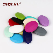 TYRY.HU Soft Flat Oval Silicone Beads Baby Jewelry Leash BPA  Free Teethers Baby Teething Pacifier Chain DIY Necklace Bead