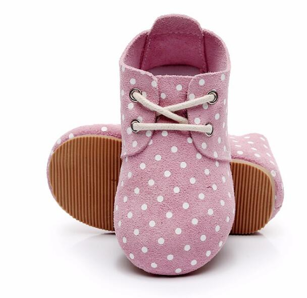 2018 new High quality hard sole genuine leather handmade baby shoes polka dot toddler maccasins shoes lace up kids shoes scalloped lace spliced polka dot briefs