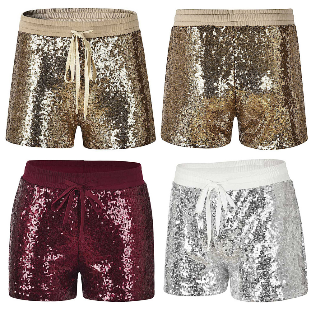 Women Glitter Sequin Shorts Drawstring Elastic Waist Casual Stylish Short Pants WOMYH0027