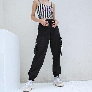 Image 2 - HEYounGIRL Streetwear מכנסיים מטען נשים רצים מקרית שחור גבוה מותן רופף נשי מכנסיים קוריאני סגנון גבירותיי מכנסיים קאפרי