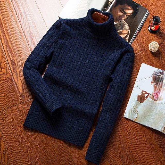 Novo inverno homens camisola de gola alta pullovers completo manga sólidos