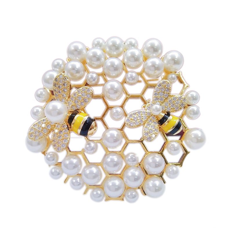 Luxury Large Insect Honeycomb Rotatable Bees Pins and Brooches for Women Clothes Mother of Pearls Broches Fashion Jewelry X318