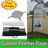 Free Design Free Shipping Double Sided with Cross Base Competitive Street Flags Banners Street Banners Flags Open Banner Flag