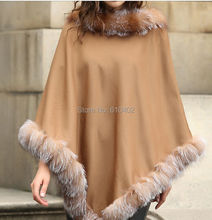 free shipping/Lady's Genuine  Real Cashmere Genuine Crystal Fox Fur Coat Cloak Poncho/shawl//cape Wraps/ Brown