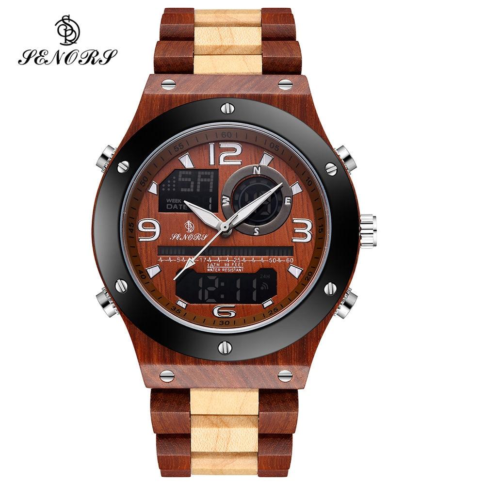 Senors Wooden Men Watches Men Dual Display Digital Wristwatch Relogio Masculino Luxury Brand For Men's Souvenir Relogio Watch