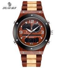 Senors orologi da uomo in legno orologio da polso digitale da uomo con doppio Display Relogio Masculino marchio di lusso per orologio da uomo Relogio Souvenir